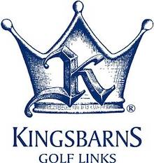 Blue Kingsbarns crown emblem on white background