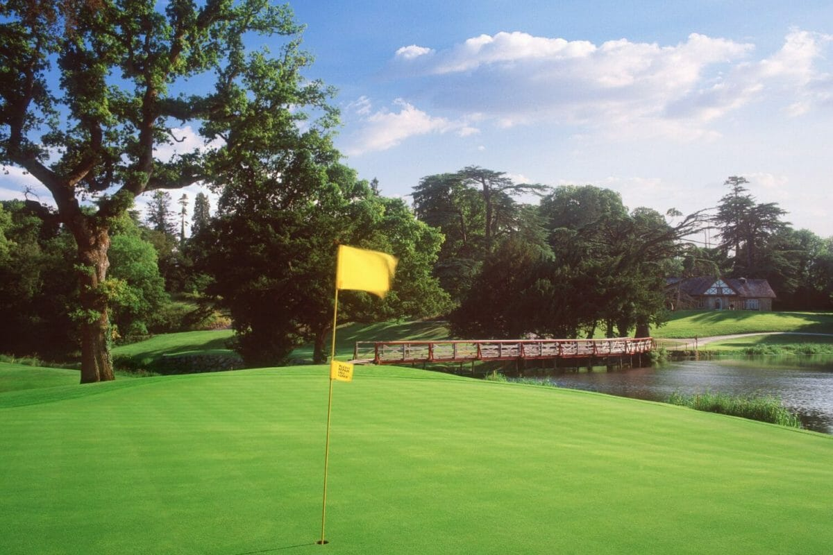 Flag stick in the O'Meara golf course sixteenth hole