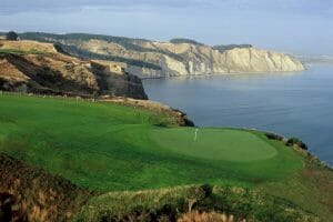 Cape Kidnappers golf course looking south along coastline