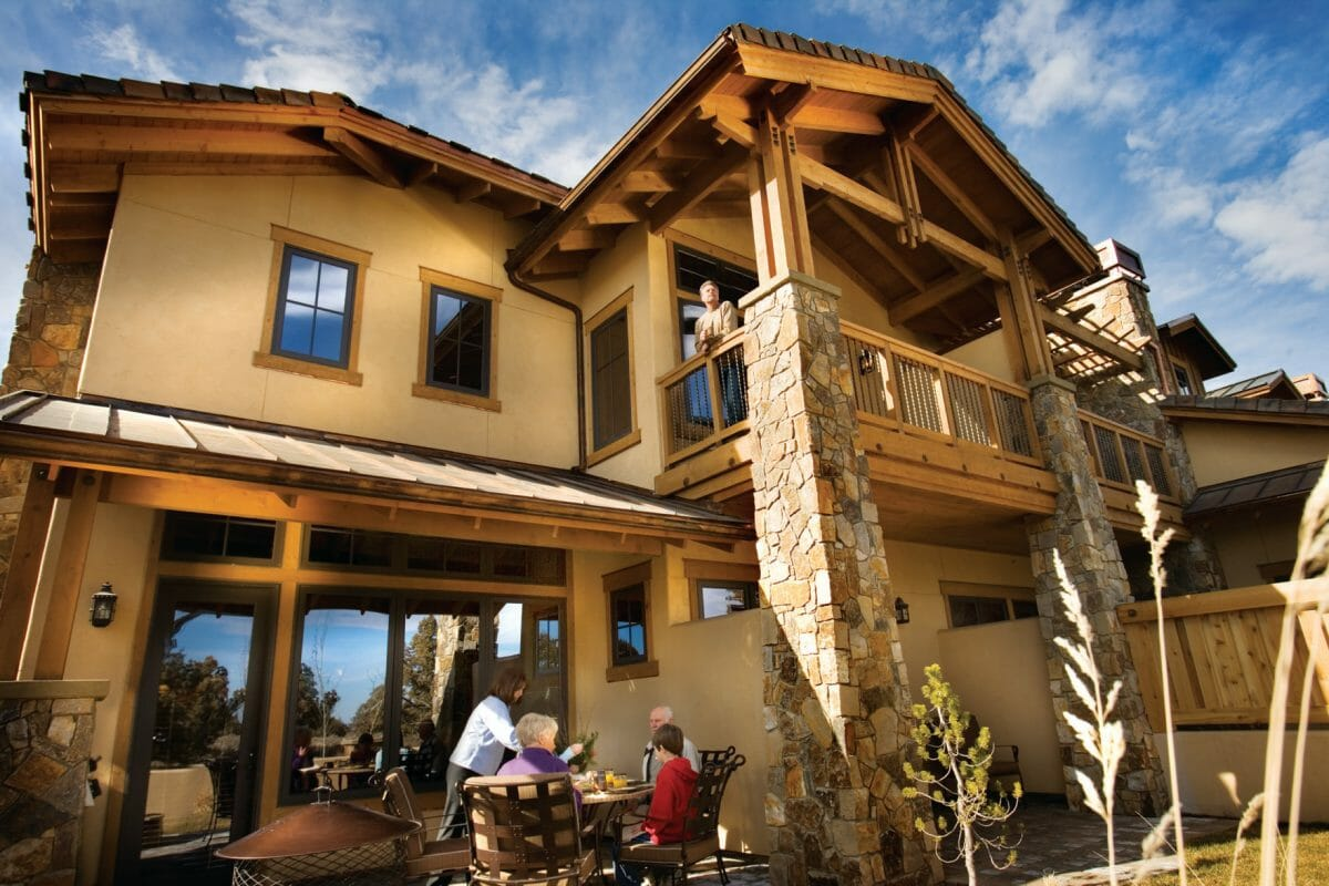 Resort accommodation and guests outside at Pronghorn Resort