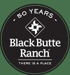 White Black Butte Ranch 50 year logo on black background