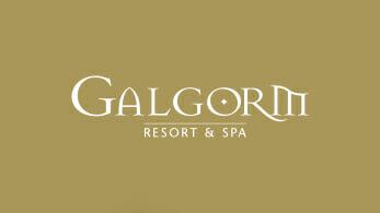 White Galgorm logo on gold background