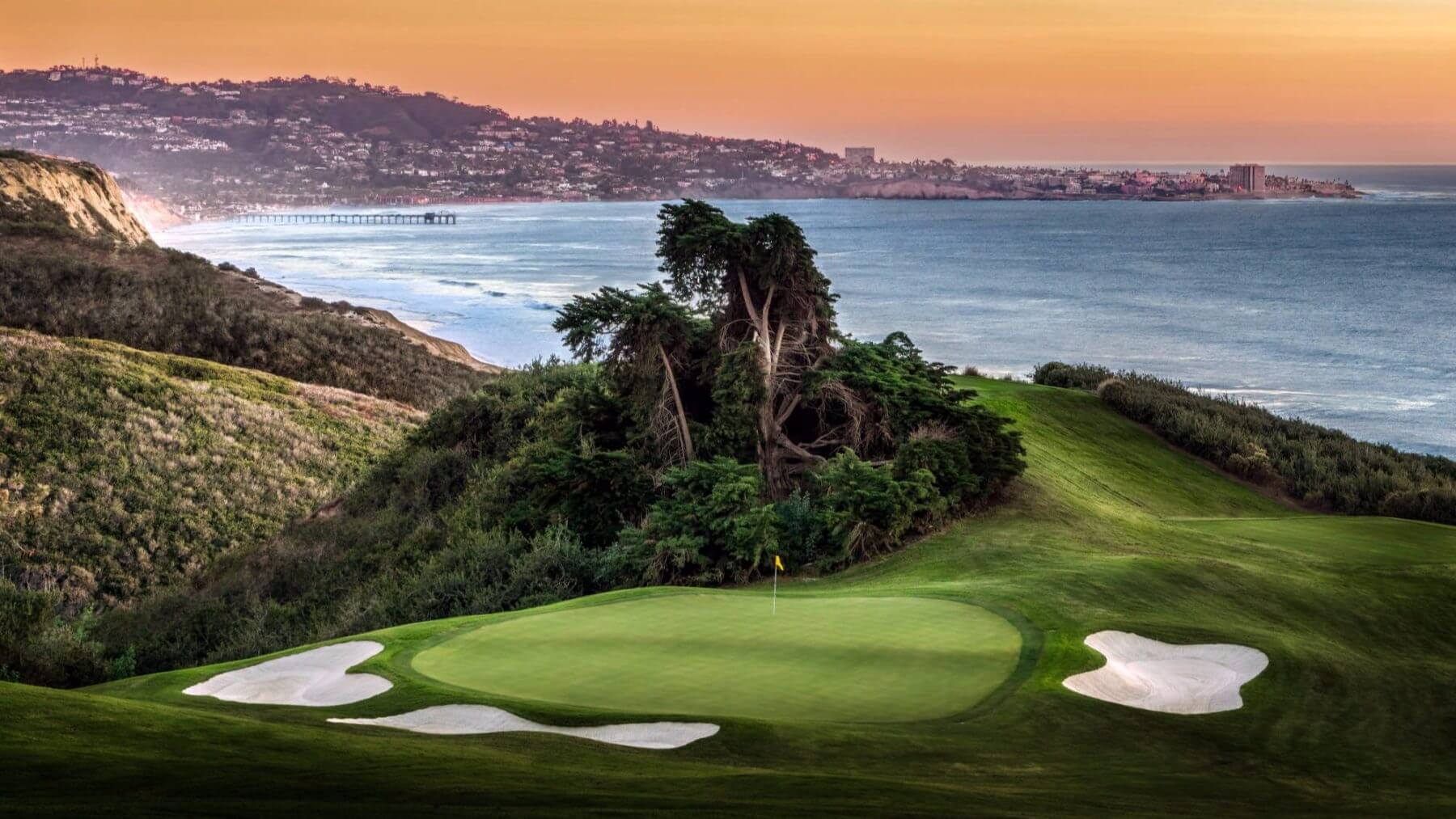 Torrey Pines fifteenth green with San Diego city views