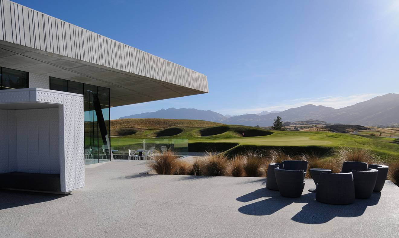 Clubhouse outdoor seating overlooks the course
