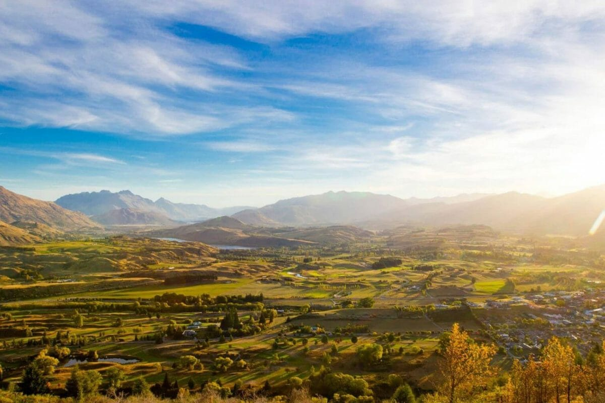 Sunrise over Arrowtown and golf course in Lake District, New Zealand