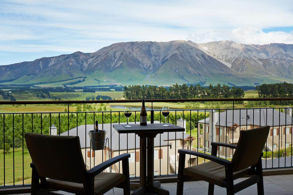 Balcony view over Mt Hutt from a Terrace Down Villa