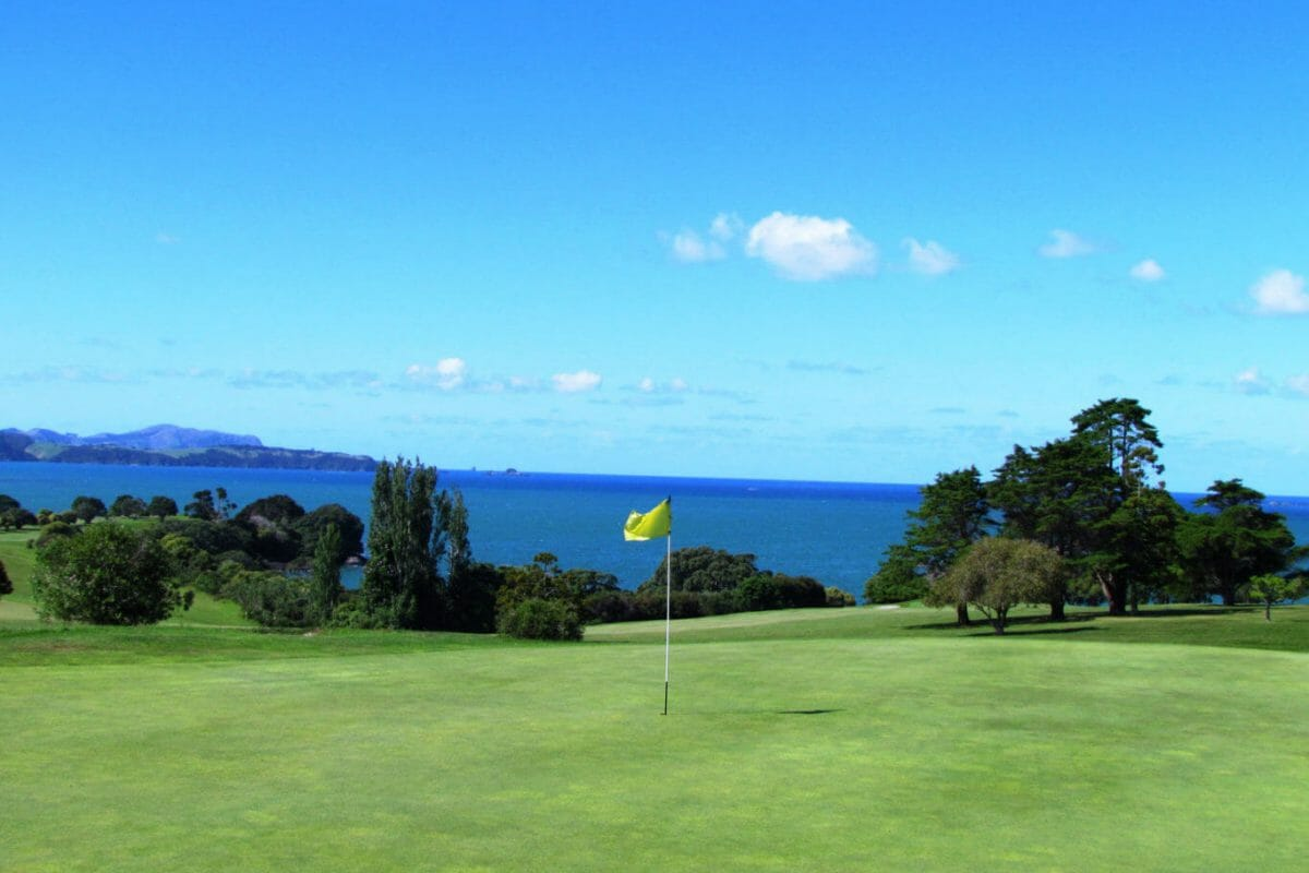 Golf green overlooks the Bay of Islands