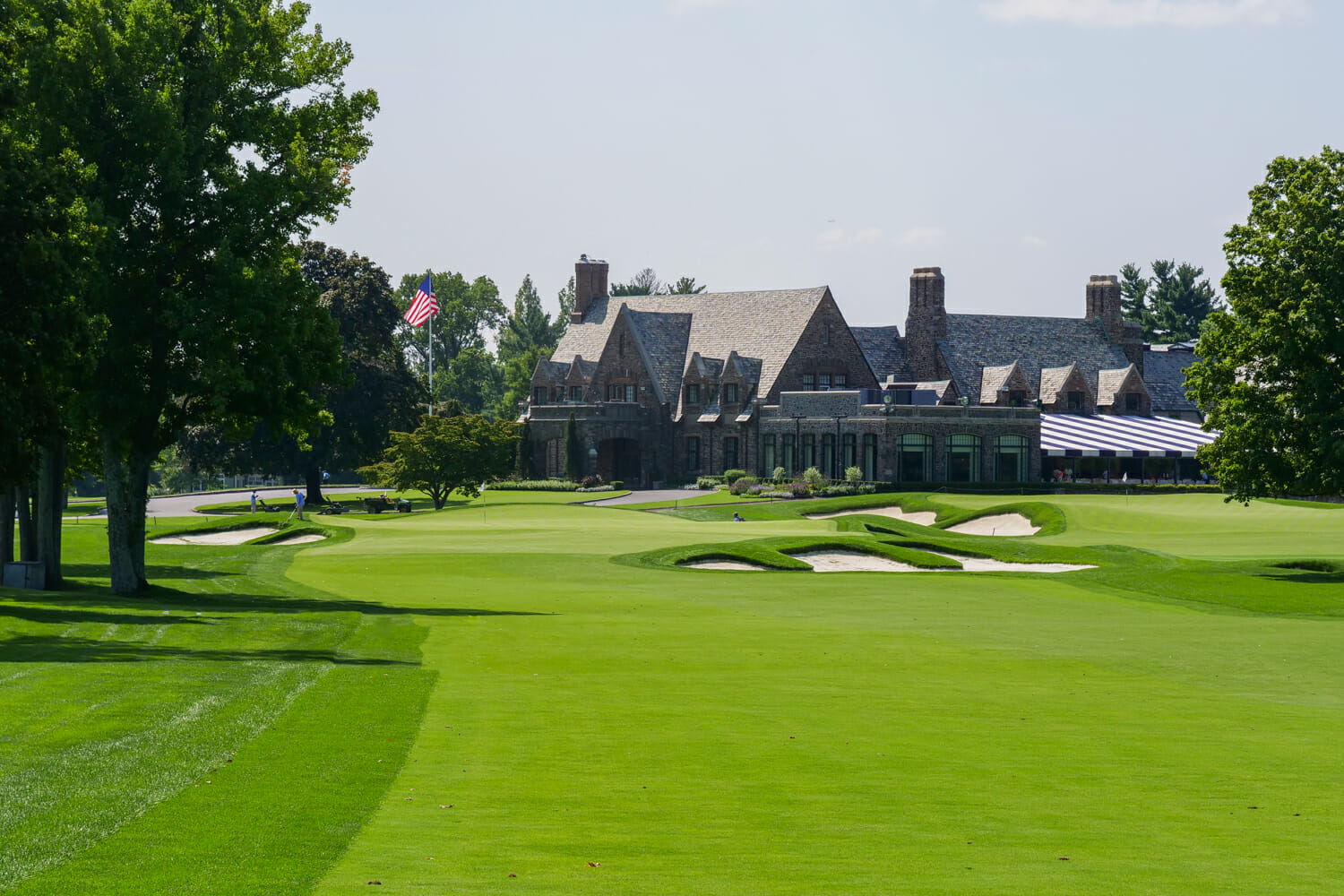 Ninth hole at Winged Foot Golf Club looking towards Clubhouse