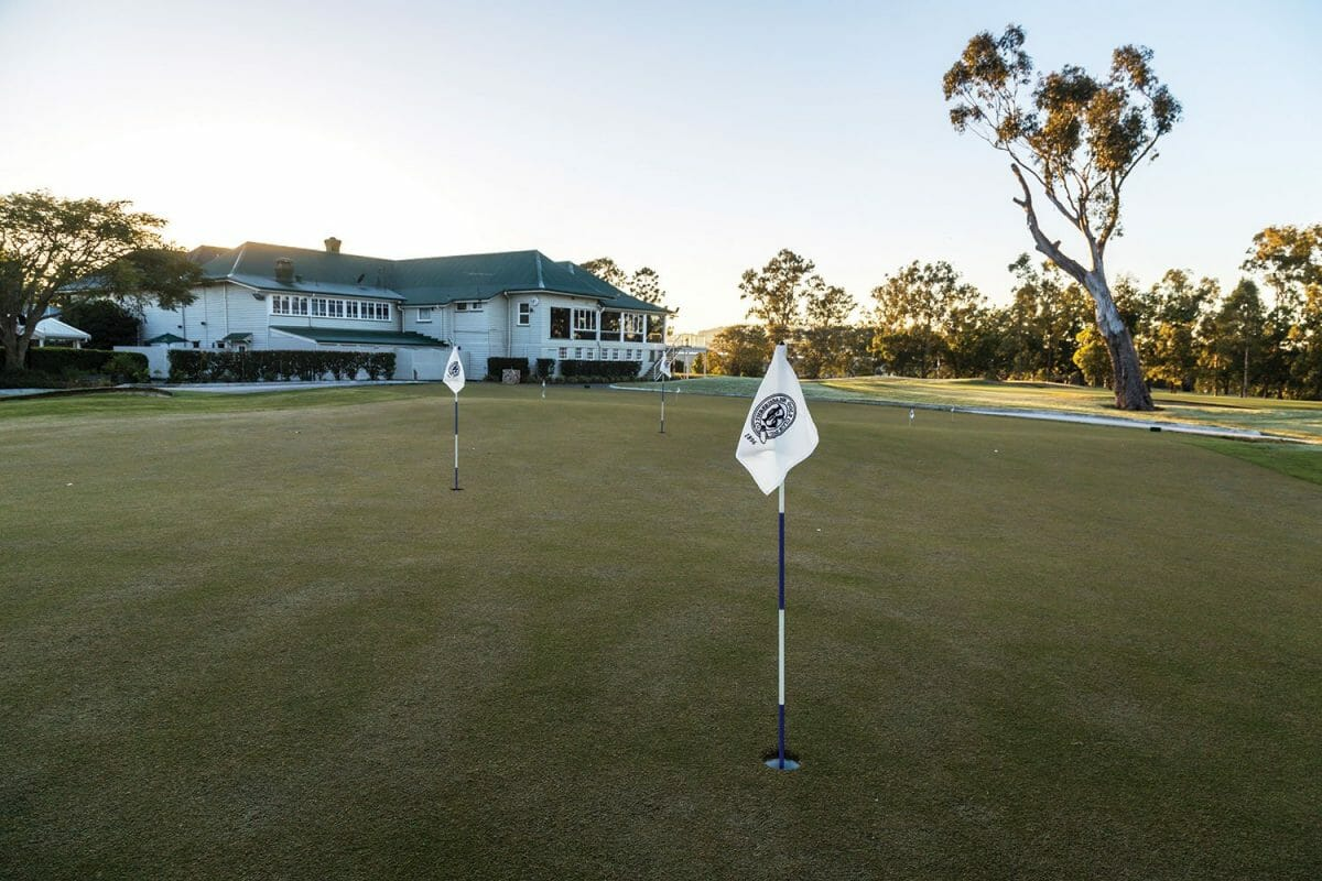 Large practice putting green adjacent to clubhouse
