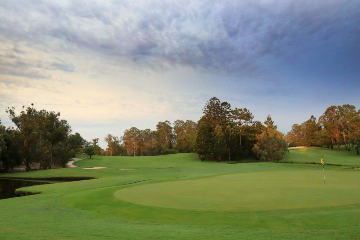 Seventeenth green at dusk with dense native bushland surrounding golf course