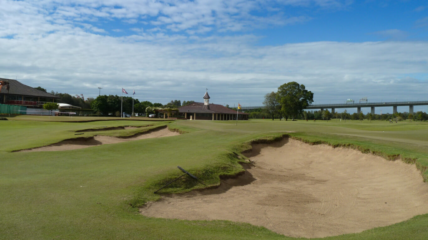 Royal queensland golf course ninth hole with large bunker