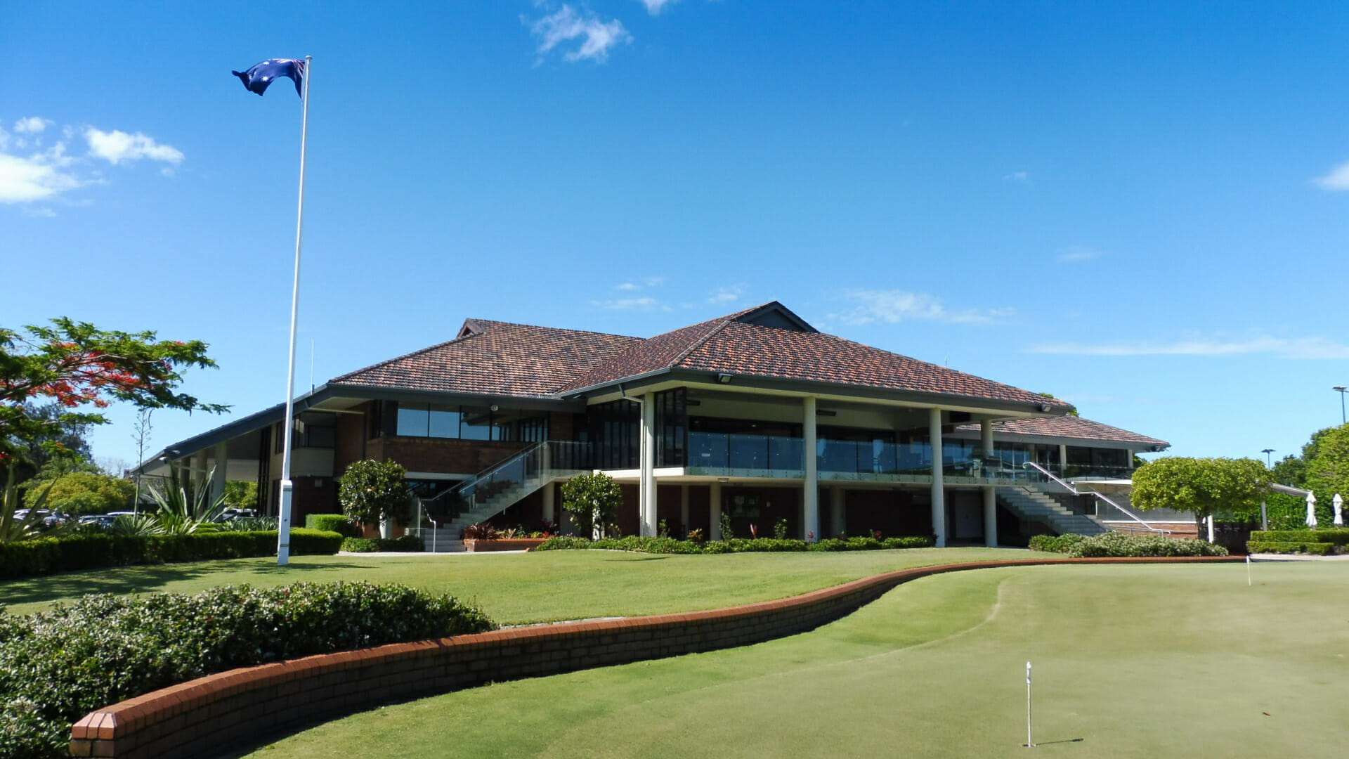 Golf clubhouse overlooks the Royal Queensland course