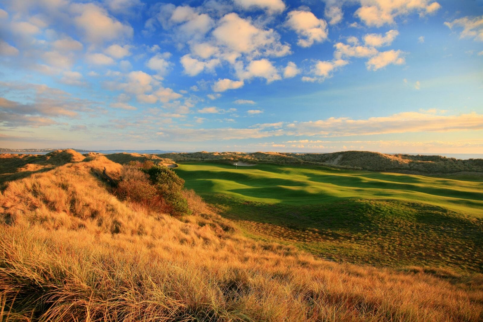 Dusk settles over the seventeenth fairway of The Dunes course