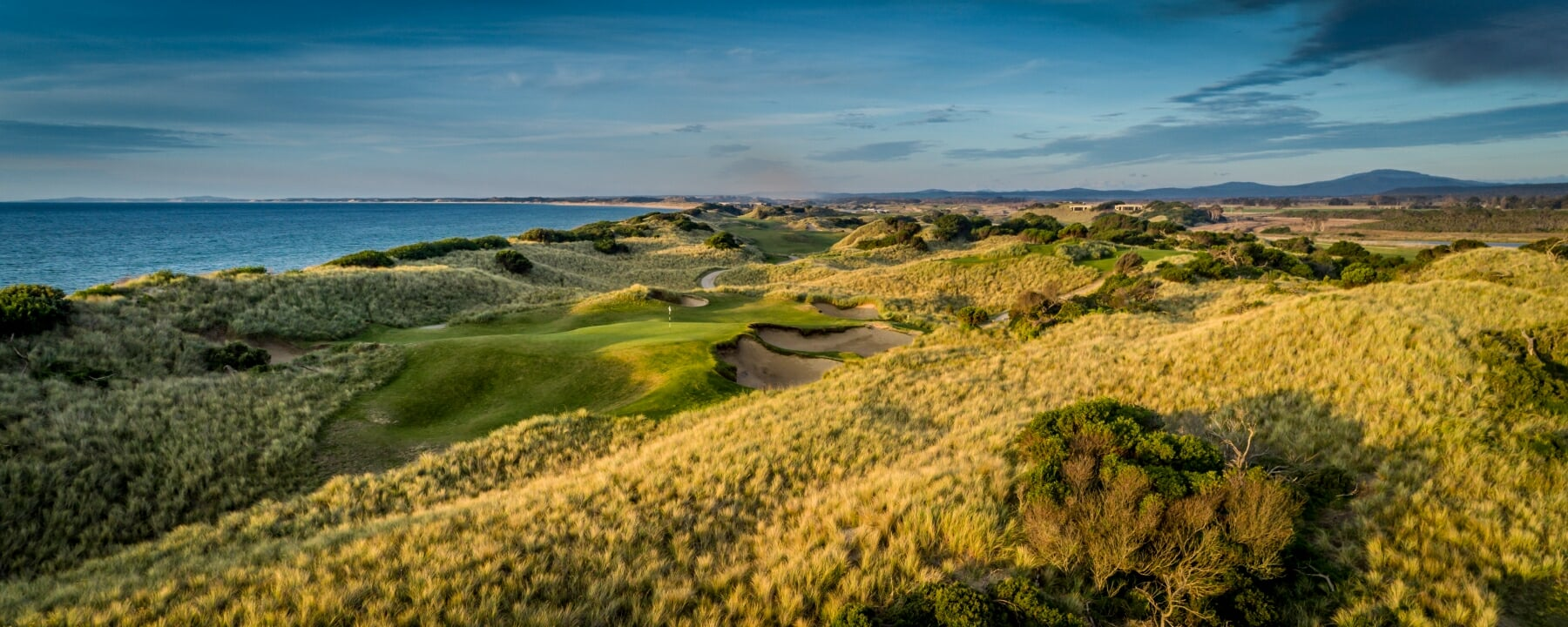 Panoramic view of the fifth fairway at Barnbougle Dunes golf links