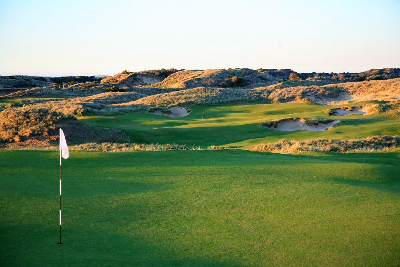 Dusk settles over the Barnbougle Dunes golf course in Tasmania