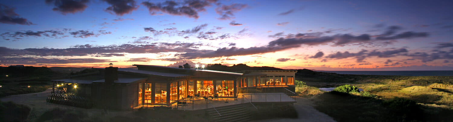 Twilight at The Dunes Clubhouse at Barnbougle