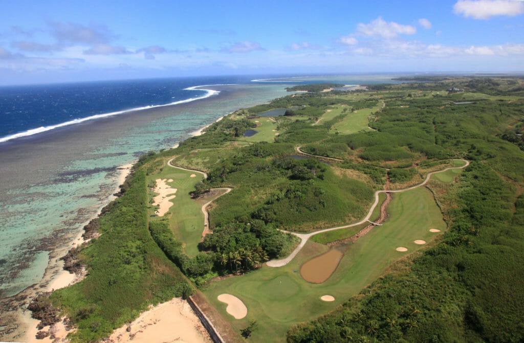Aerial view over Natadola Bay golf course
