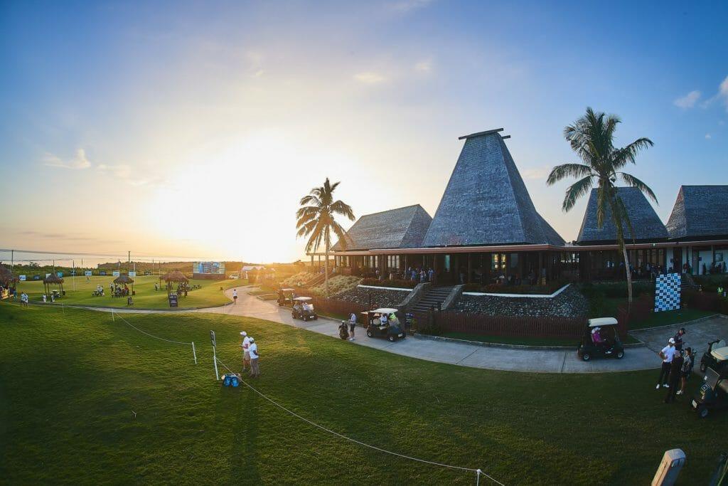 Sunrise over Natadola Bay golf course clubhouse
