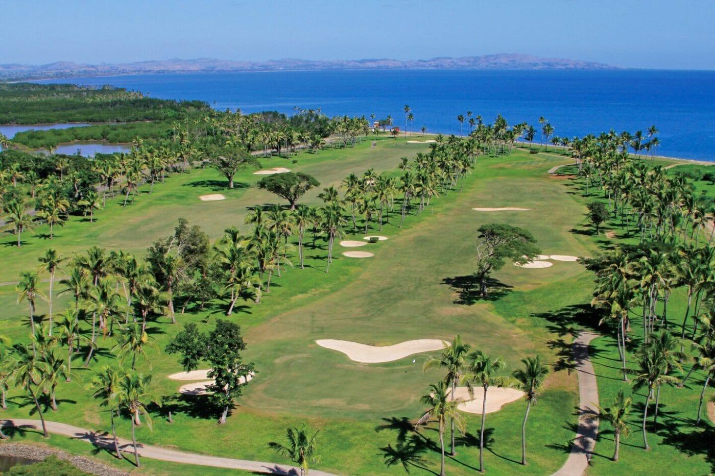 Denarau golf course bordering Pacific Ocean