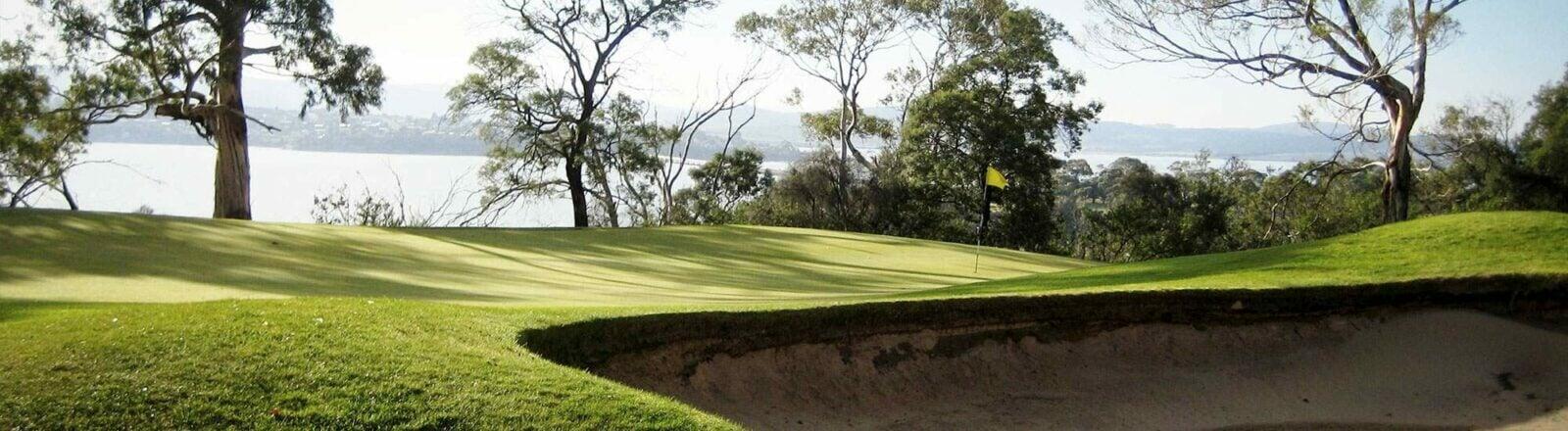 Golf hole panorama view