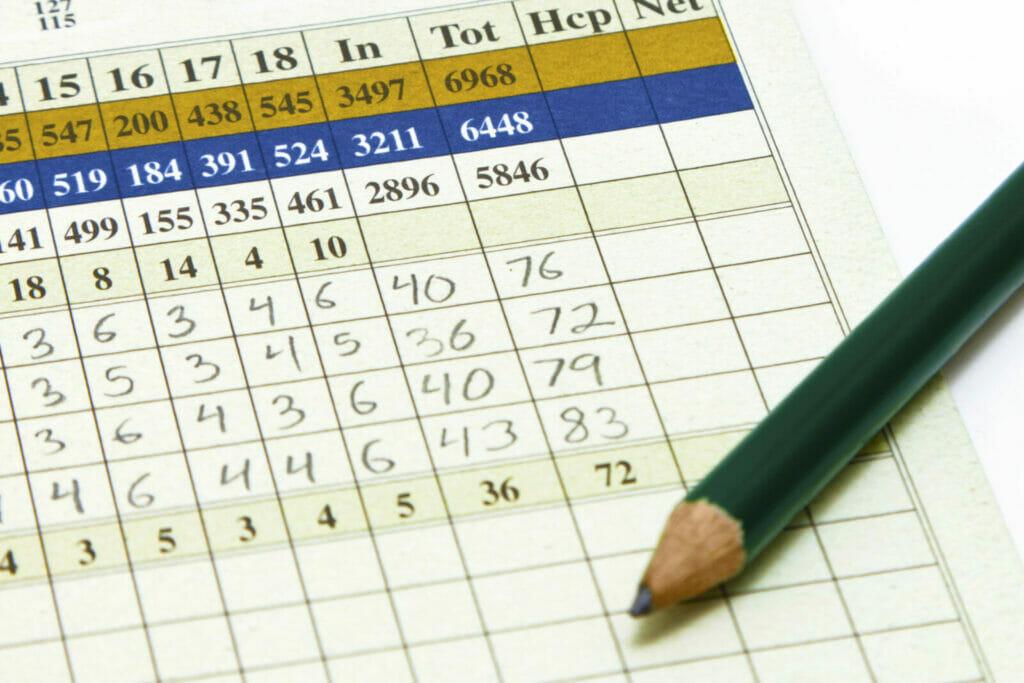 Golf scorecard filled out