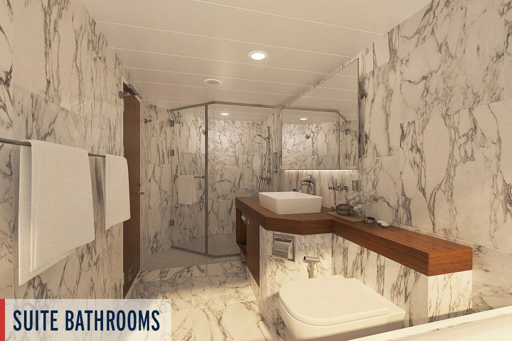 Bathroom interior on the Coral Geographer ship