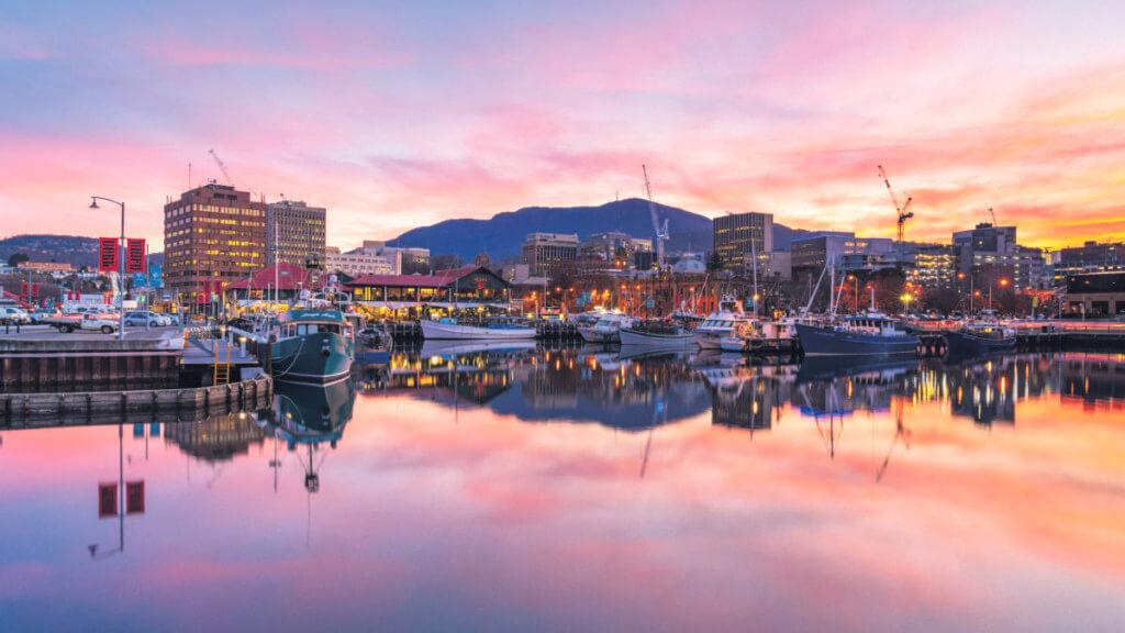 Hobart port in Tasmania