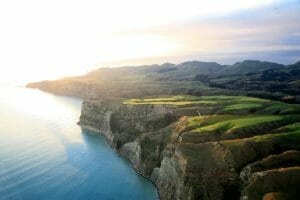 Flyover view of Cape Kidnappers Golf course in Hawke's Bay, New Zealand