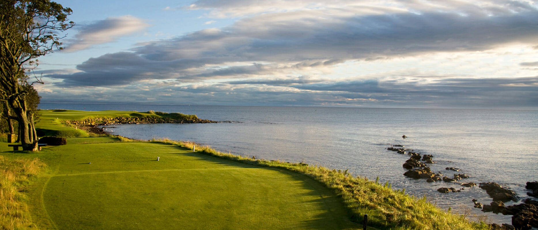 View from tee boxes out to The North Sea at Kingsbarns Golf Links, Scotland, United Kingdom
