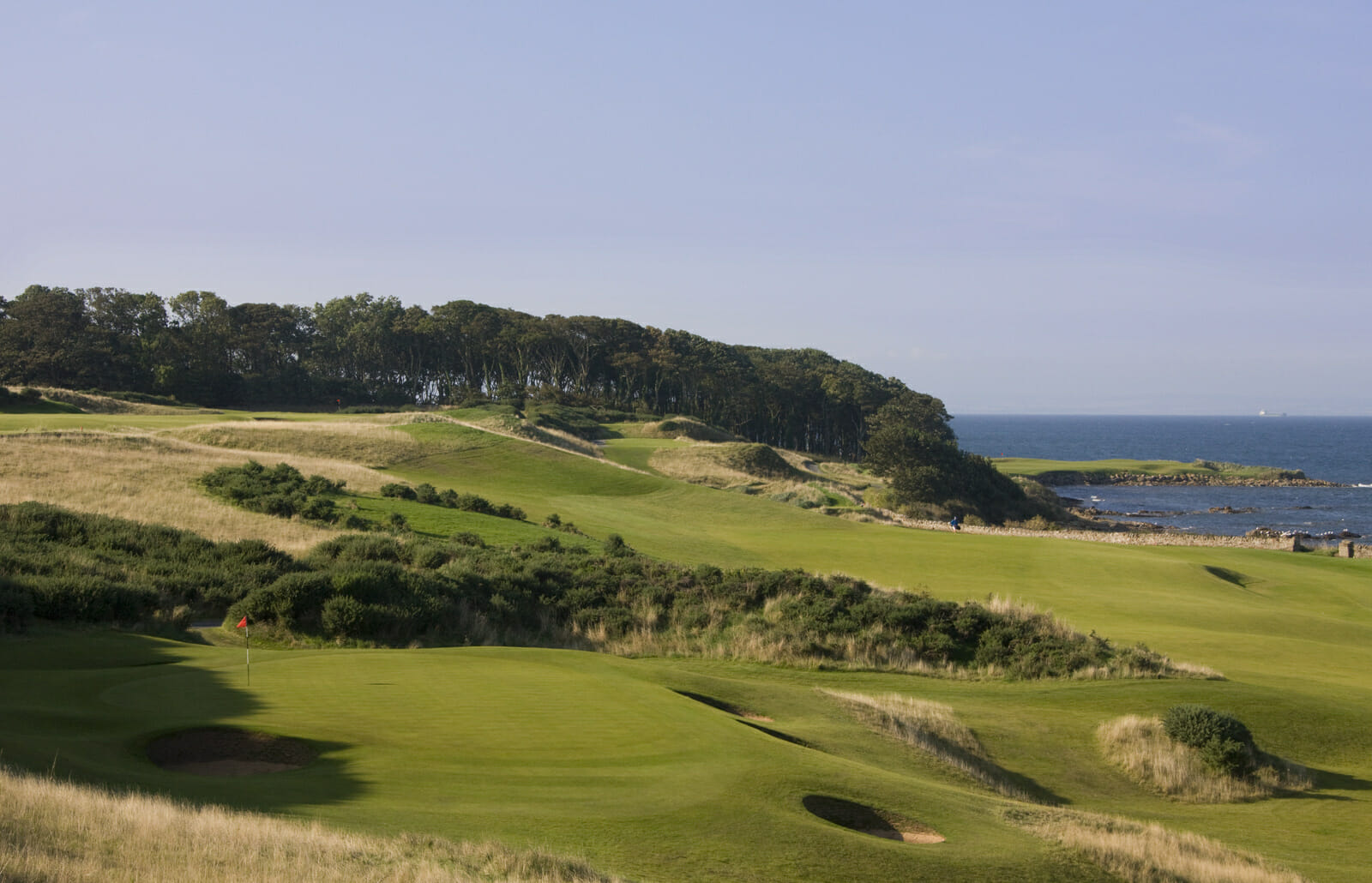 Overlooking the 13th, 14th & 15th holes at Kingsbarns Golf Links, Scotland, United Kingdom