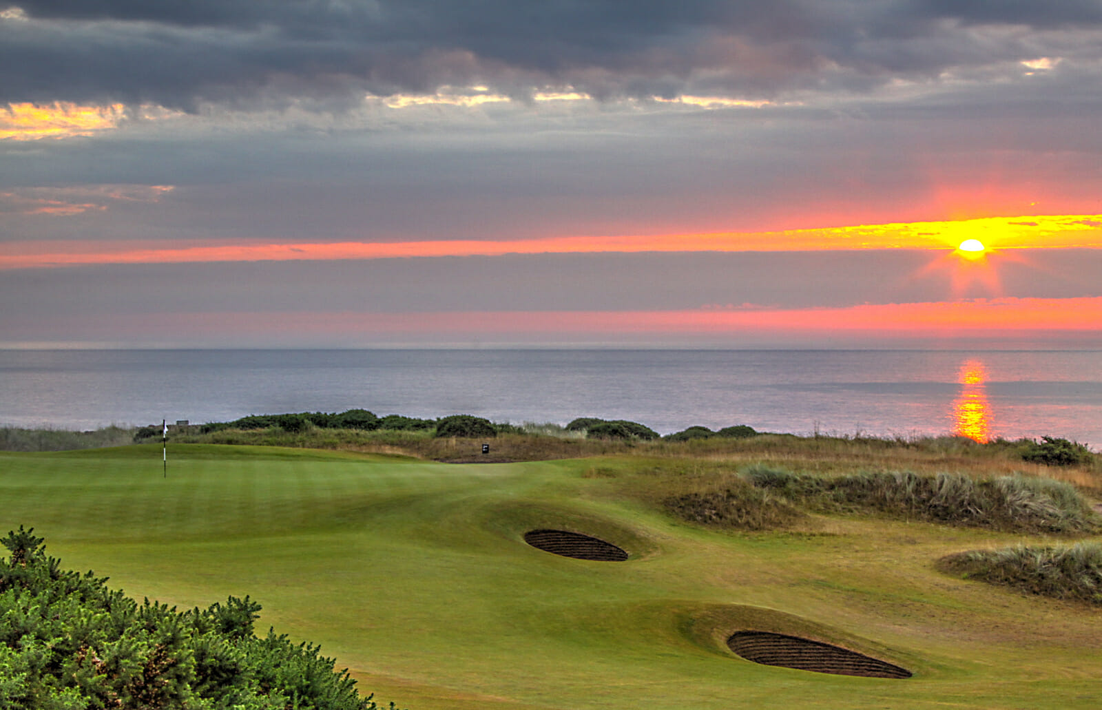 View of the sunrise to the east of Kingsbarns Golf Links, Scotland, United Kingdom
