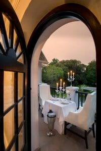 View of table on balcony at Manor House, Fancourt Resort, The Garden Route, South Africa