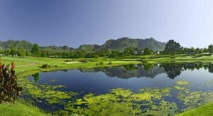 Lake amongst Outeniqua Golf Course at Fancourt Resort, The Garden Route, South Africa