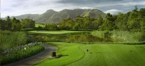 Montagu Course tee box and surrounding mountains at Fancourt Resort, The Garden Route, South Africa