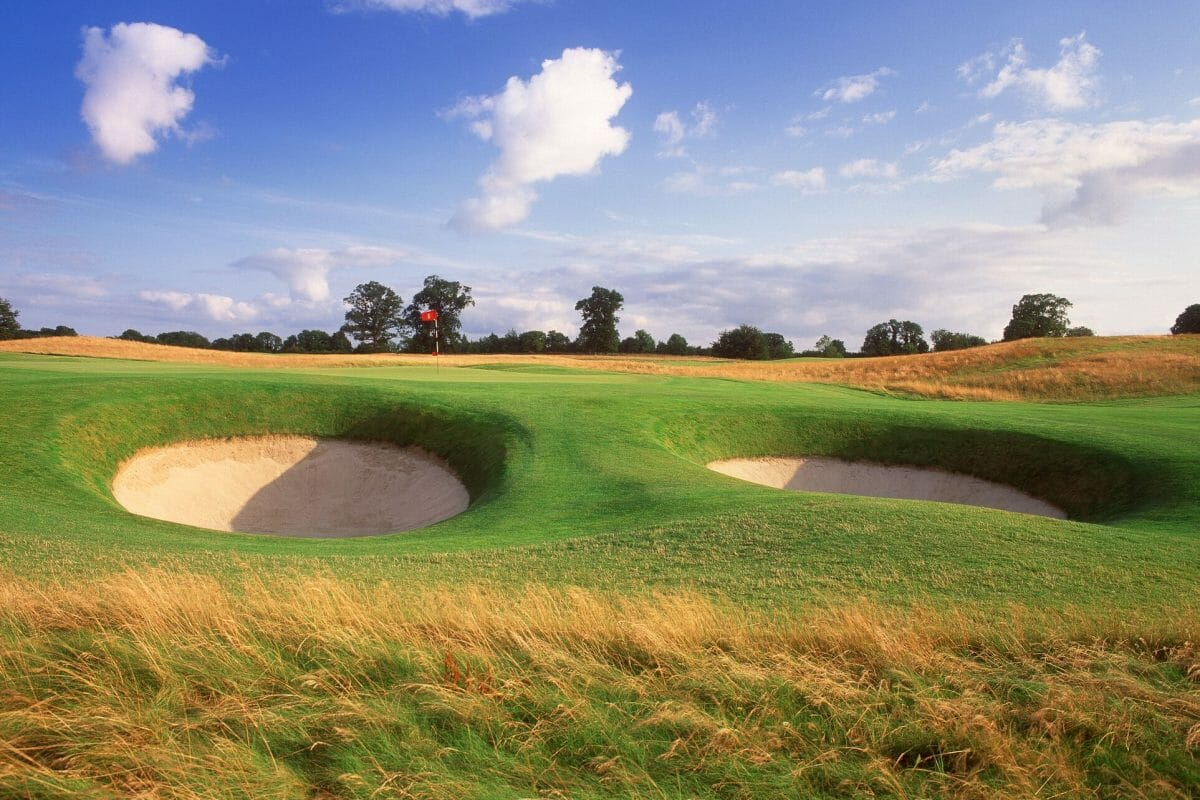 Image of pot bunkers next to the green on the 7th hole of the Montgomerie Golf Course, Carton House, Dublin Area, Ireland