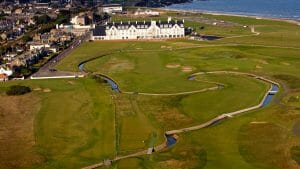 Aerial shot of canals running through the Championship course at Carnoustie Golf Links, Scotland, United Kingdom