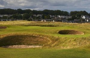 The infamous pot bunkers on full display at Carnoustie Golf Links, Scotland, United Kingdom