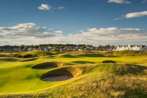 View of the town, club house, hotel and Championship course at Carnoustie Golf Links, Scotland, United Kingdom