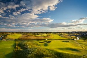 Aerial view of the Championship course at Carnoustie Golf Links, Scotland, United Kingdom