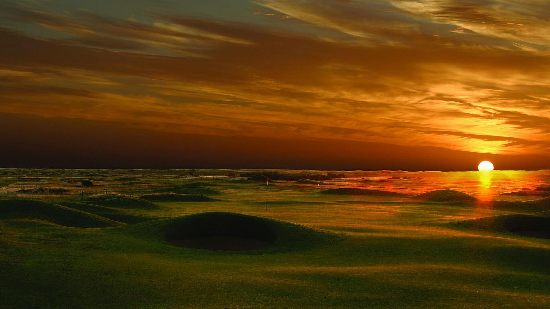 The sun sets over Carnoustie Golf Links, Scotland, United Kingdom