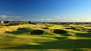 View of the many bunkers on the Burnside Course, Carnoustie Golf Links, Scotland, United Kingdom