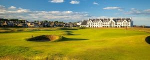 View of the hotel at Carnoustie Golf Links, Scotland, United Kingdom