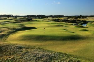 View of the 4th green at Buddon Links, Carnoustie Golf Links, Scotland, United Kingdom