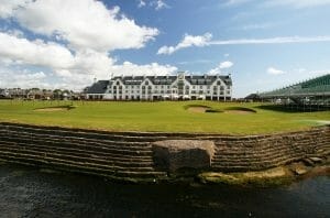View of the symbolic clubhouse at Carnoustie Golf Links, Scotland, United Kingdom