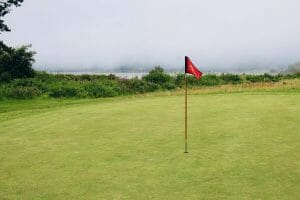 Image displaying heavy fog at the Salishan Golf Course Green