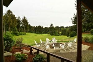 Image of a fire pit and golf course at Salishan Resort, Oregon, USA