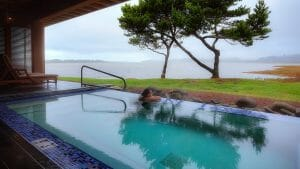 Image of a woman in a private pool at Salishan Resort, Oregon, USA