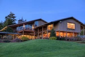 Image of Salishan's main building at night, Salishan Resort, Oregon, USA
