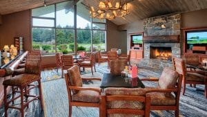Image of The Grill Restaurant and sports TV, Salishan Resort, Oregon, USA