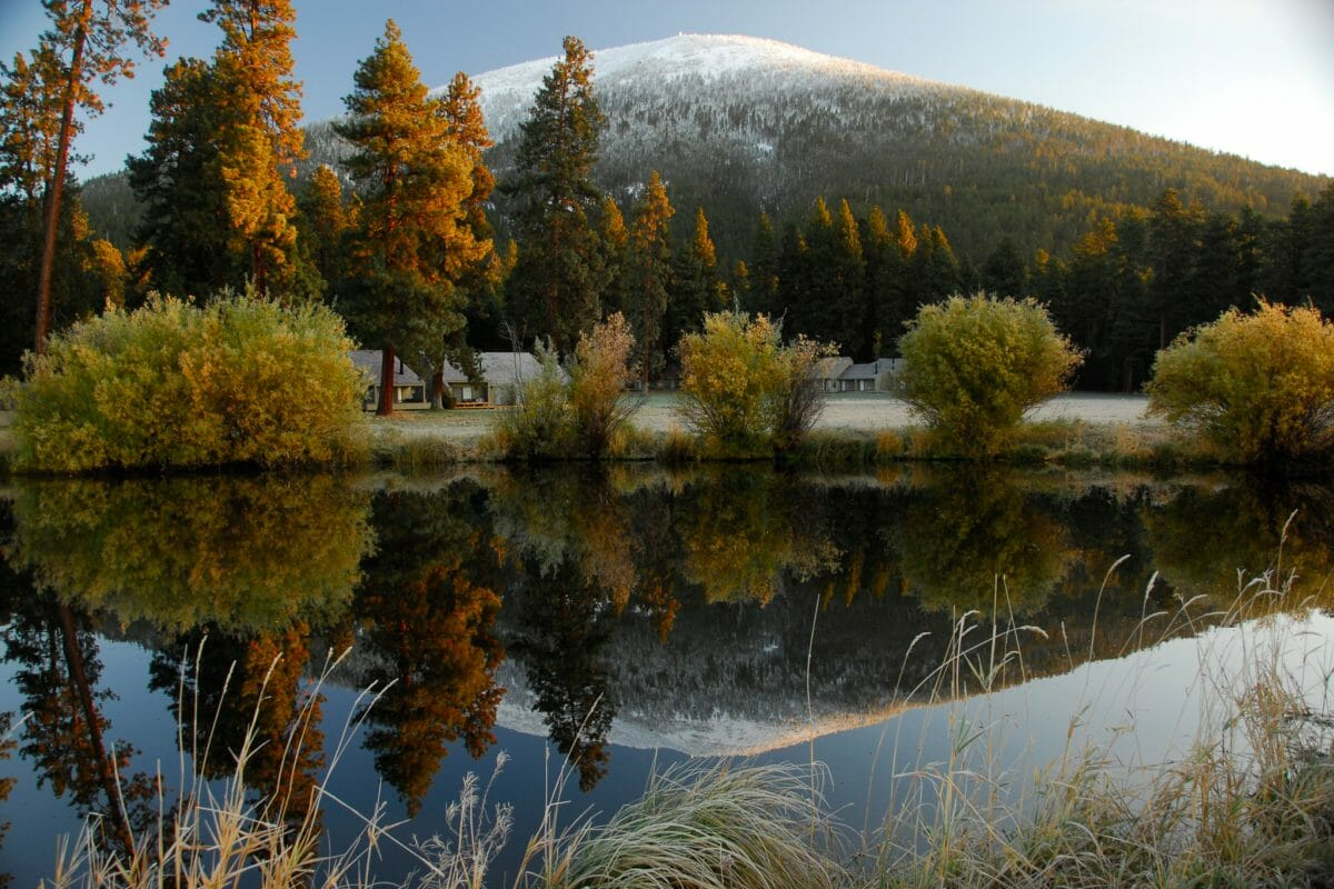 Image of the Black Butte with snow on top, Black Butte Ranch, Oregon, USA